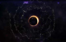 AE模板 震撼宇宙星空黑洞引力盘绕粒子光环归纳标记模板 AE素材