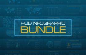 AE模板 强大科技HUD信息图表元素动画模板 AE素材