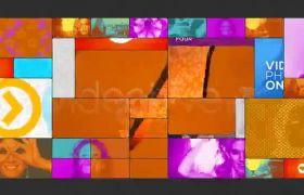 AE模板 缤纷多彩多屏格子切换内容组合模板 AE素材