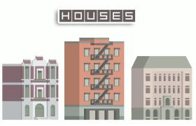 AE模板 3D趣味卡通城市建�B物生�L�赢�模板 AE素材