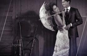 AE模板 复古浪漫透明玻璃遮罩雪花背景展示婚礼幻灯模板 AE素材