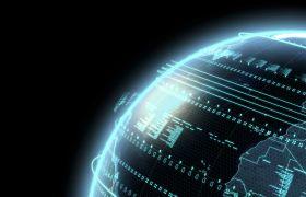 带Alpha通道科幻数字3D地球旋转循环动画背景视频