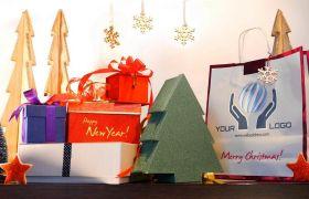 AE模板 圣诞节礼品定格动画视频包装片头模板 AE素材