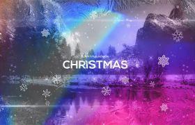 AE模板 精美圣诞节雪花转场过渡相册幻灯片模板 AE素材
