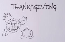 手绘感恩节英文文字拍摄视频