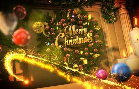 AE模板 华丽喜庆圣诞节粒子光束logo开场动画模板 AE素材