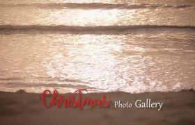 AE模板 温馨圣诞沙滩相框展示家庭聚会电子相册模板 AE素材