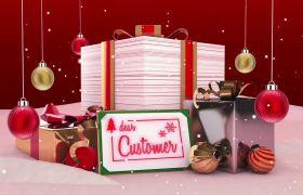 AE模板 可爱卡通圣诞节礼物包装展示动画模板 AE素材