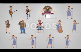 AE模板 生动卡通人物演唱会舞台特效角色创建展示模板 AE素材