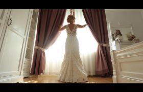 温馨的婚礼前穿婚纱高清实拍视频