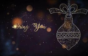 AE模板 梦幻金色星空粒子圣诞节派对聚会标题模板 AE素材