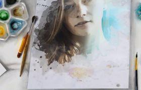 AE模板 淡雅清新油画水墨晕染相册幻灯片模板 AE素材