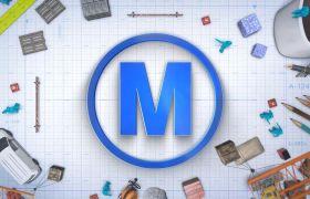 AE模板 卡通工程构建标志logo动画模板 AE素材