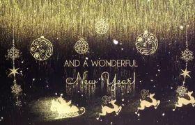 AE模板 梦幻金色粒子圣诞节模板 金色粒子流光特效 AE素材