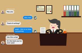 AE模板 手机短信消息文本对话卡通动画模板 AE素材