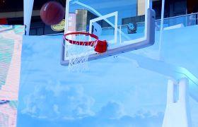 室内篮球运动扣篮得分高清实拍