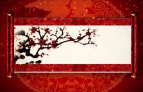 AE模板 喜庆大气中国风画卷展开迎新年模板 AE素材
