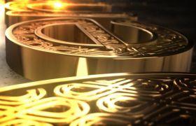 AE模板 华美闪亮金色纹理平面标记LOGO模板 AE素材