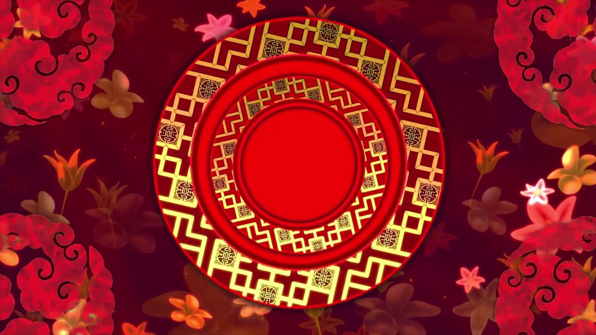 中国风喜庆元素舞台背景视频素材