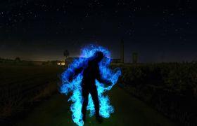 创意假造光绘人物舞台结果视频