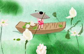 卡通中国风水彩墨配景led视频