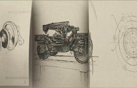 铅笔素描绘铁路火车头动画视频