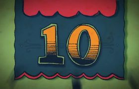 趣味卡通绘画10秒倒计时MG动画视频