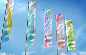 AE模板 生动有趣多款彩旗飘扬特效替换展示模板 AE素材