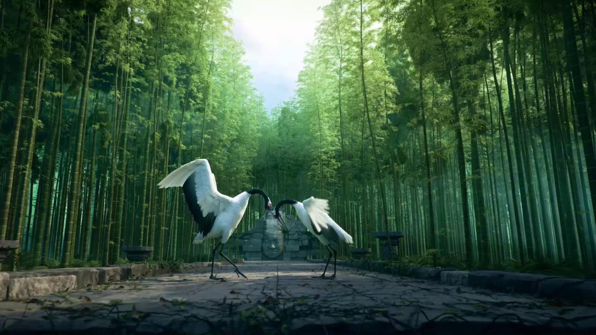 唯美竹林丹顶鹤起舞cg风景视频素材
