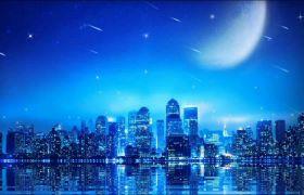 蓝色唯美月光流星雨城市夜景视频素材