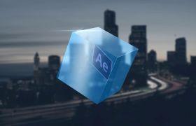 AE模板 蓝色水晶立方体演绎logo字幕条模板 AE素材