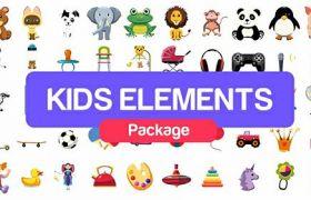 AE模板 多款可爱儿童卡通动画小图标logo模板 AE素材