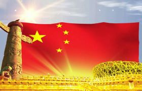 鸟巢前中国五星红旗飘荡视频素材