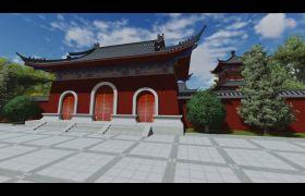 寺庙古代建筑全景模型演示动画视频素材