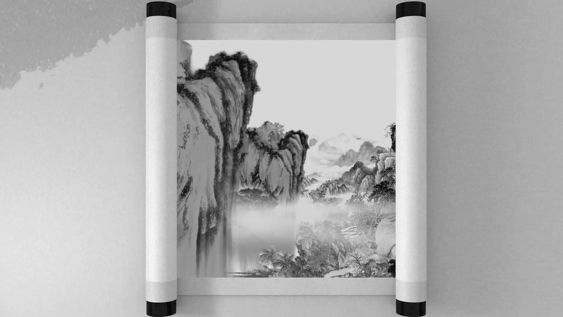 ae模板 优美中国传统文化中国风水墨画卷轴模板 ae素材