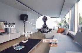 AE模板 經典簡潔室內家具價格材質介紹標簽模板 AE素材