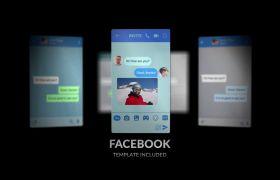 AE模板 手机交际谈天对话音讯小视频UI动画模板 AE素材