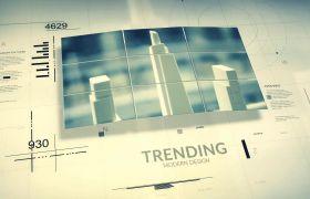 AE模板 商务科技数字圆规企业图文规划宣传模板 AE素材