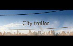 AE模板 城市天空剪影标题字幕变换开场动画模板 AE素材