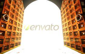 AE模板 大门开启展现logo开门蝴蝶飞翔闪光模板logo-doorway AE素材