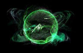 笼统视觉光圈地球表面粒子转动视频素材