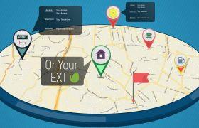 AE模板 GPS地图定位地理信息演示动画模板 AE素材