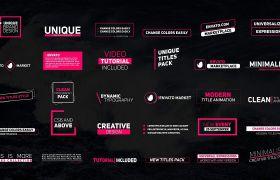 AE模板 多款洁净颜色字幕小标题logo模板 AE素材