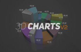 AE模板 3D立体商务图表柱状图饼状图动画模型模板 AE素材