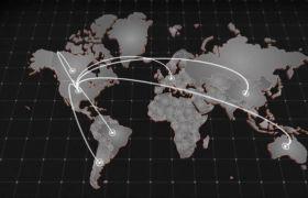 AE模板 经典世界地图全球连线定位动画模板 AE素材