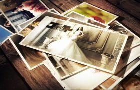 AE模板 温馨浪漫回想相册照片散落一地模板 AE素材