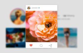 AE模板 时髦instagram照片分享点赞图文模板 AE素材