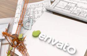 AE模板 3D建筑图纸模型标志logo动画展示模板 AE素材