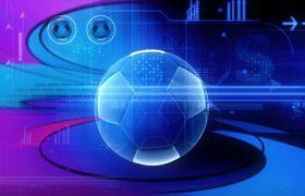 虚拟透明足球球体旋转栏目包装视频素材