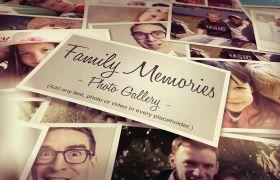 AE模板 温馨堆叠平铺照片墙家庭纪念电子相册模板 AE素材